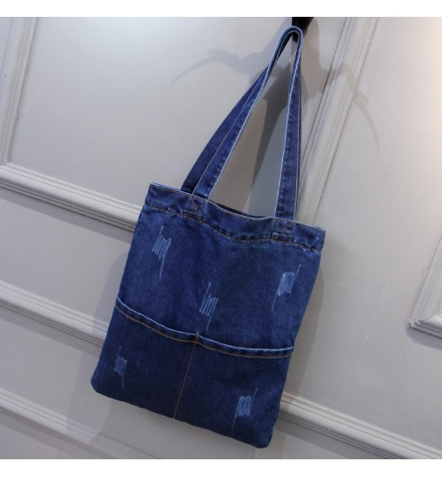 2018 new vertical square denim bag casual fashion commuter large capacity single shoulder bag