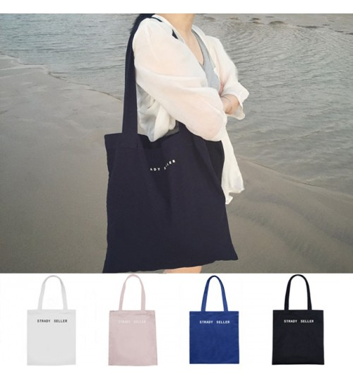 2018 new canvas bag personalized wear-resisting commuter vertical square neutral tote shoulder bag