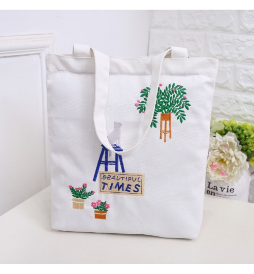 Hot selling cotton canvas shoulder bag environment friendly shopping bag