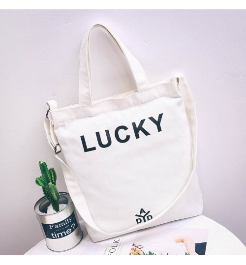 2018 New white Canvas Bag Handbags Shoulder Portable Simple Student Tote Bag