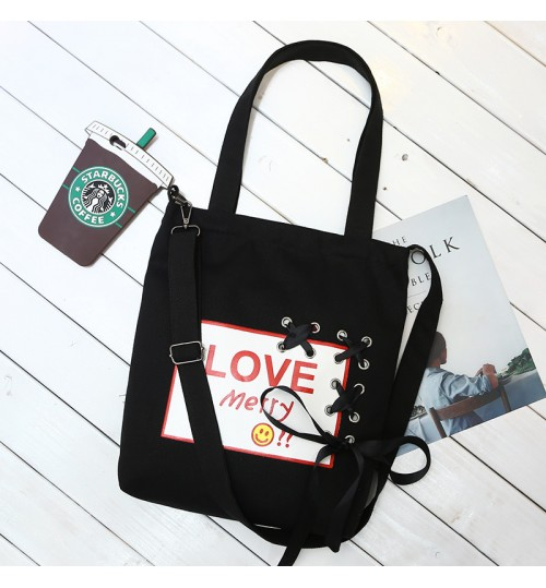 New ribbon leisure bag large capacity removable Messenger shopping Dual-use canvas shoulder bag