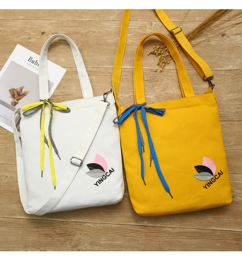 2018 new college preppy chic student canvas bag removable bow bag