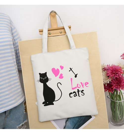 New Korean cotton canvas cartoon shoulder bag college bag fashion shopping bags