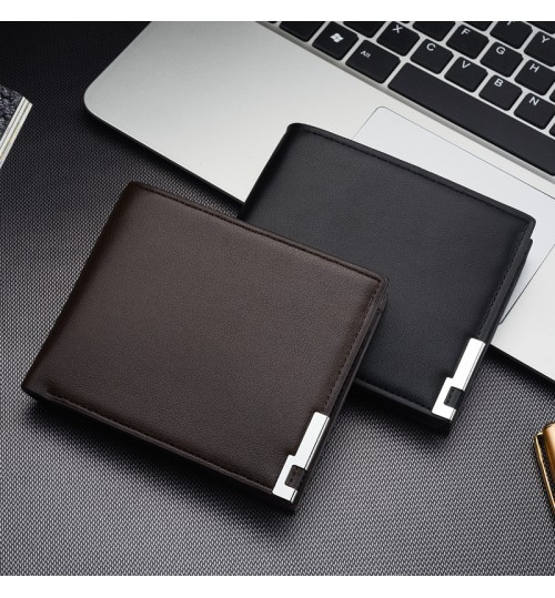 New men's short wallet iron side Korean youth male black card case