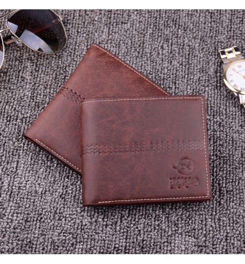 2018 new retro men's short wallet youth upscale genuine cross Loose-leaf money ticket bag