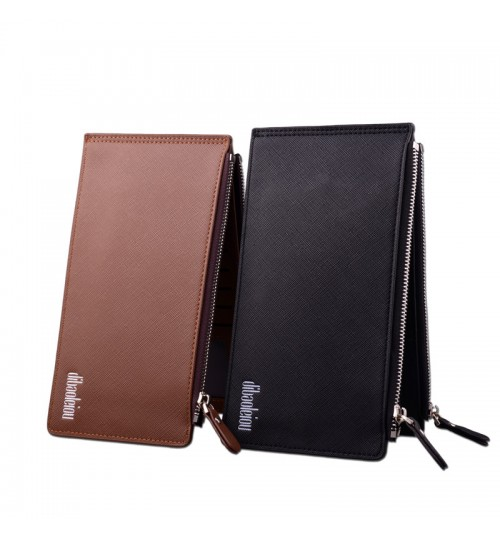 New Men's Multi-functional Fashional Wallet Multi Card Dual Zipper purse