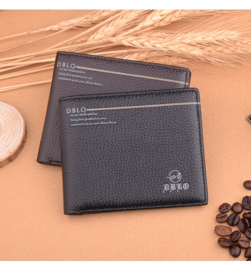 Brand Men's Short Leather Thin Wallet Business First Layer Leather Genuine Purse