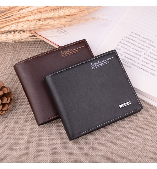 Black men's short wallet fashional casual youth multi-functional purse