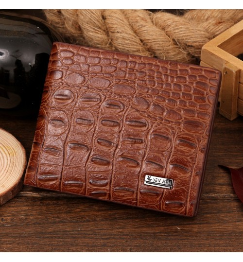 New crocodile pattern men's short wallet business casual cross large-capacity purse