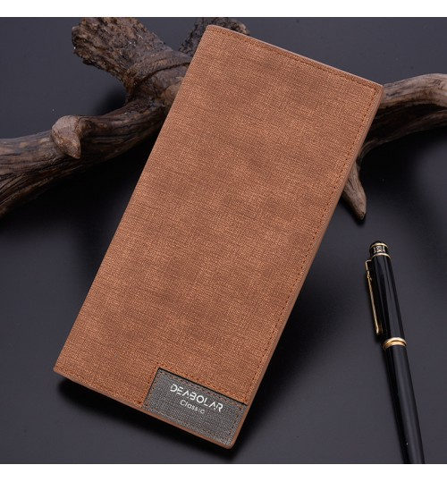 2018 new men's long wallet ultra thin fashional stitching soft leather wallet