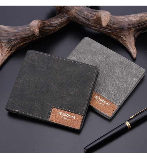 2018 new men's short wallet retro youth wallet slim cross purse