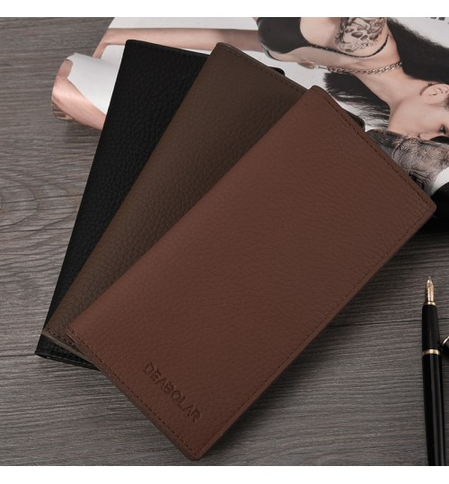 2018 new men's long wallet thin simple black multi card holder