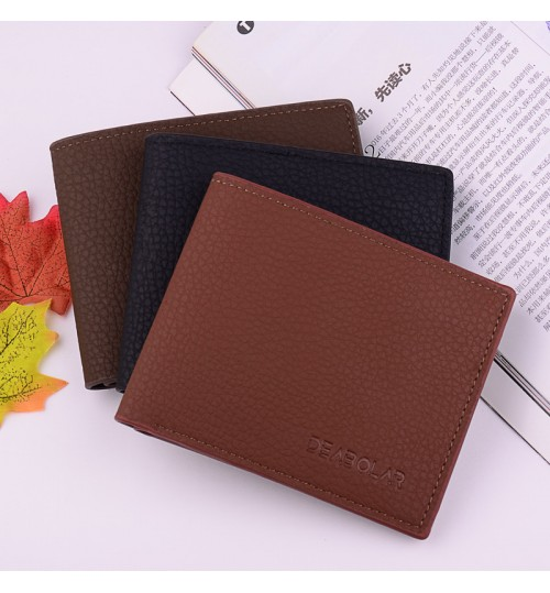 2018 new simple men's short wallet thin soft leather horizontal style