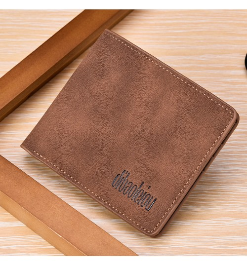 brown male short antique casual wallet student personalized multi-purpose small purse