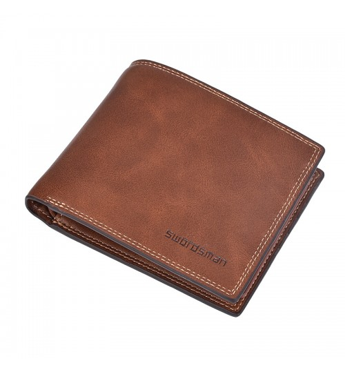 Men's Short Wallet Vintage Multi-functional Driver's Licensed Leather purse Multi Position Card Pack