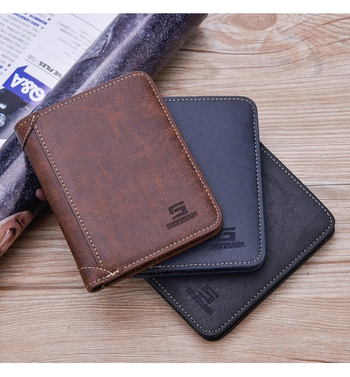 2018 new retro three fold men's short wallet simple large capacity soft leather purse