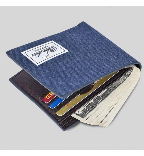 New young men's short wallet fashional canvas student slim purse