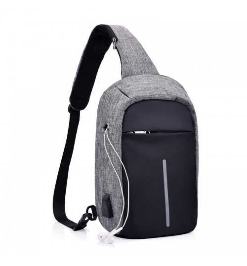 Upgraded style new anti-theft USB rechargeable chest pack multi-functional Messenger bag men and women leisure sports backpack