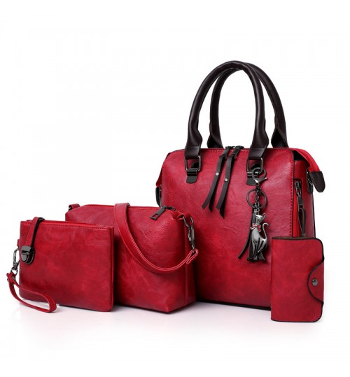 new gray red brown fashional street style handbag 4 in 1 set  shoulder bags