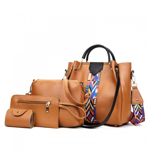 solid color 4 in 1 set women bag European and American style fashional shoulder bag for ladies