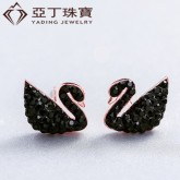 zircon black Swan earrings s925 sterling silver simple Ear Studs for girls