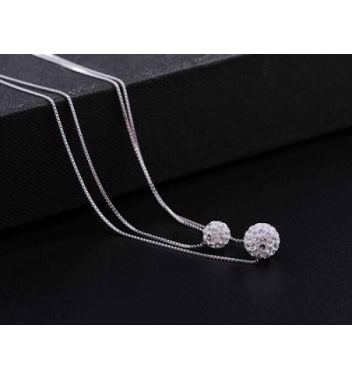 S925 Silver Double Necklace Women's Short Pendant Accessories Couples Fashion Jewelry