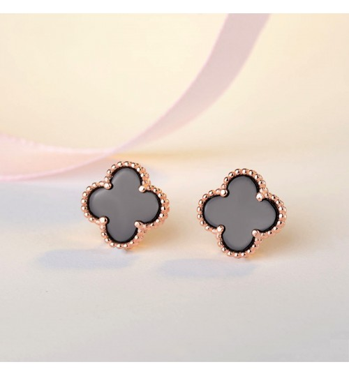 black clover female fashion crystal jewelry hypoallergenic 925 sterling silver needle earrings