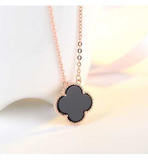 Rose gold clover necklace S925 sterling silver plating new female Clavicle chain