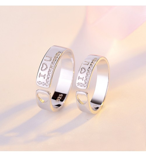 New couple s925 sterling silver simple rings Valentine's day gift