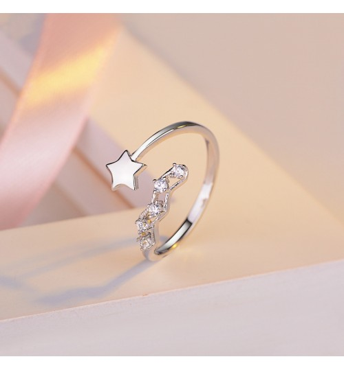 New 925 sterling silver pentagram five diamond opening small fresh ring