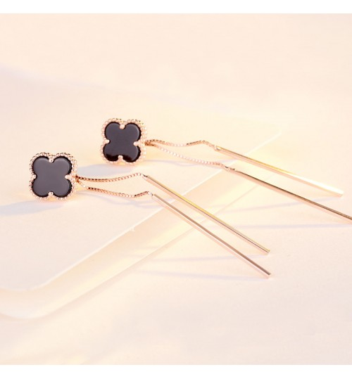 New S925 Sterling Silver Clover Stud Earrings Elegance Long Tassel ear line