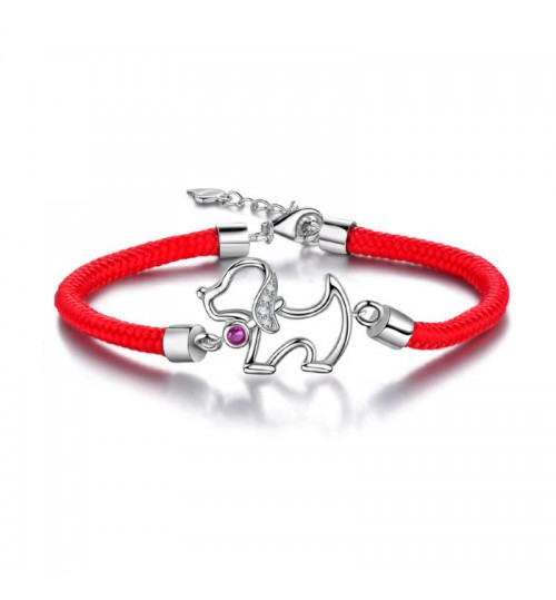 S925 sterling silver female new zodiac dog red rope bracelet birthday Christmas gift