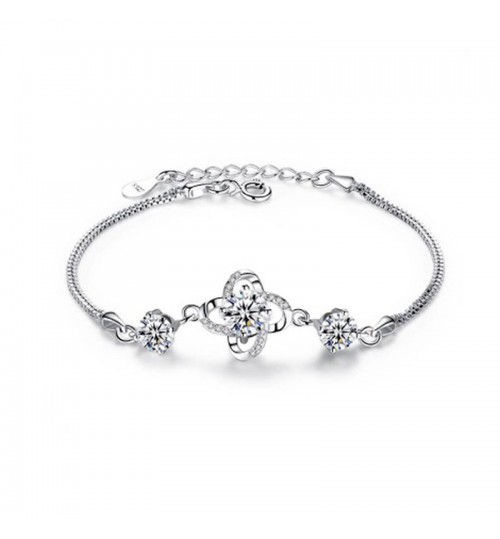 S925 Silver Clover Bracelet Female Diamond Lucky Jewelry Girlfriends Birthday Valentine's Day gift