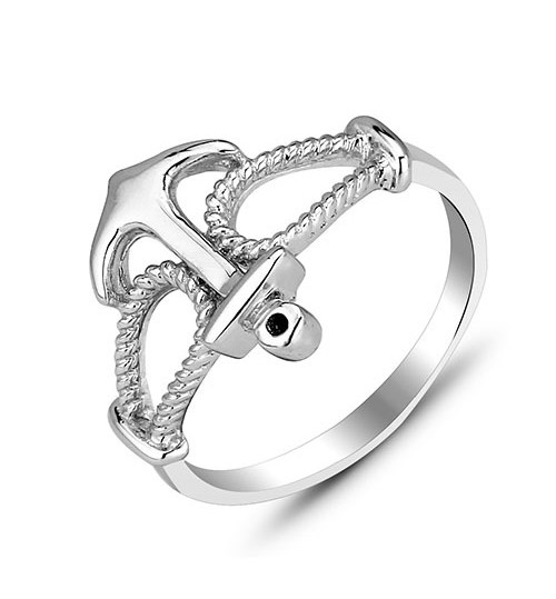 925 Silver Ring Fashion Gender Anchor Jewelry