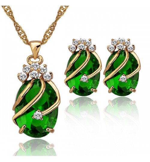 Jewelry Set Fashion Wedding Dinner Zircon Red blue purpe green Earring Necklace