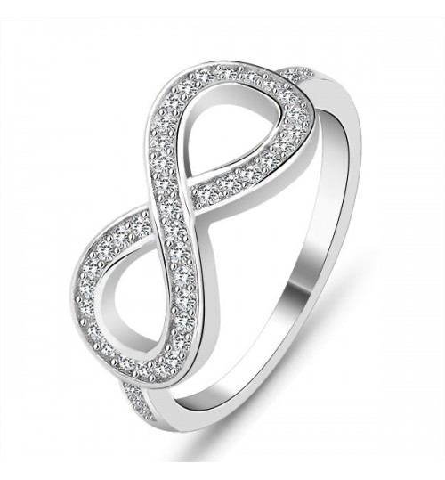 S925 Silver Ring Large 8 character Brand jewelry for women