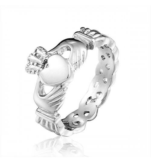 Fashion jewelry Stainless steel Hand holding heart The Clad Female Wedding ring