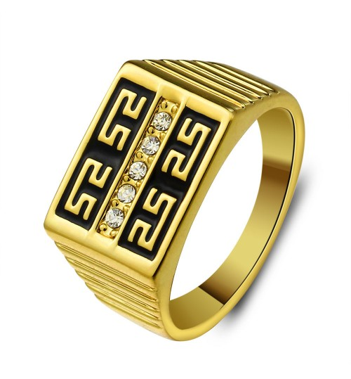 Fashion gold plated retro Great Wall pattern men's ring