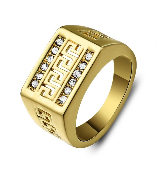 Middle East Jewelry Hollow Vintage Great Wall Pattern Men's Rings
