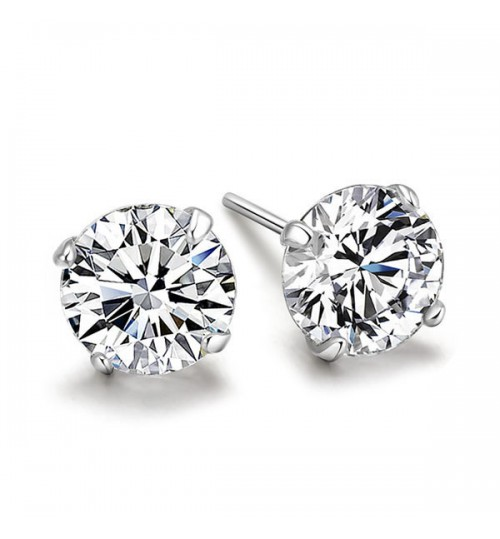 Fashion simple 8mm zircon white 925 silver Stud earrings simple jewelry