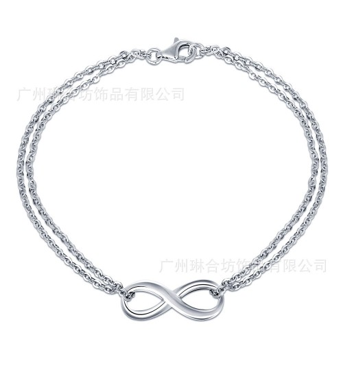 Brand Jewelry s925 Silver Bracelet Digital 8 Shape Double Chain