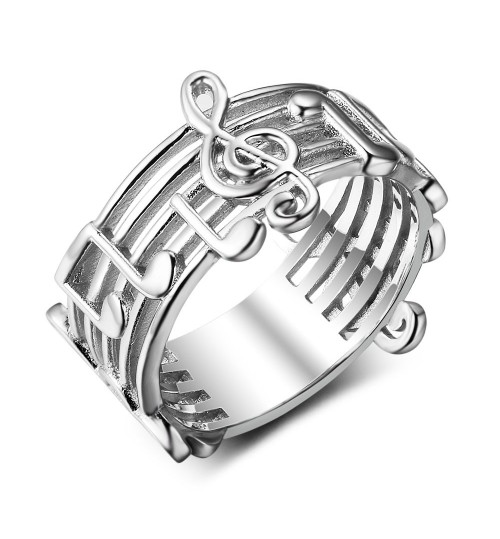 Fashion note ring s925 silver personalized jewelry wholesale