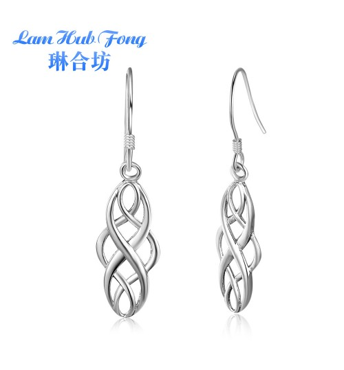 Rome retro jewelry long simple smooth s925 silver earrings