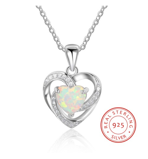 Heart-Shaped Pendant Fashional Spiral Diamond 925 Sterling Silver Necklace