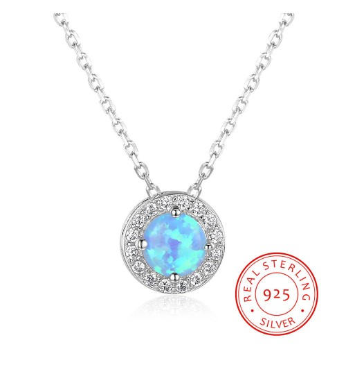Necklace single-diamond s925 sterling silver synthetic female colorful gemstone pendant