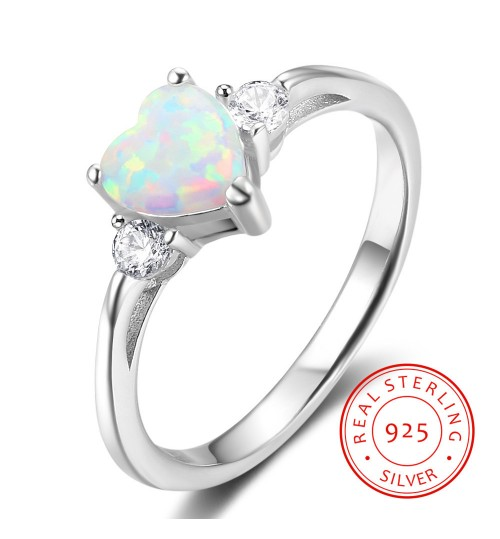 Couple Ring Heart-shaped Love Women Silver 925 sterling silver ring