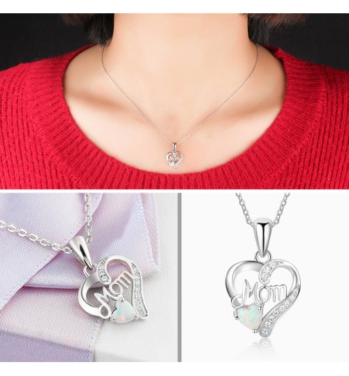 Opal Two colors Love Heart Pendant Sterling Silver Clavicle Chain