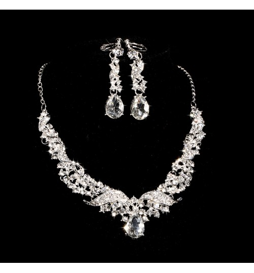 Bridal Alloy Rhinestone Necklace Earrings Sets Wedding Accessories Jewelry