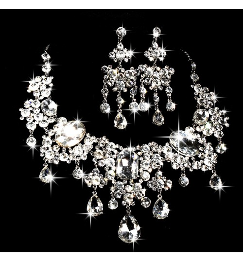 Bridal necklace earrings two sets rhinestone flowers new jewelry wedding accessory