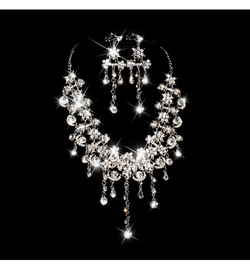 Bridal Jewelery Two-piece Set Party Gala Wedding Gown Jewelry Necklace Earrings